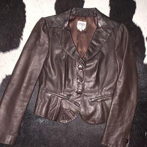 Armani Collection Brown Leather Blazer Jacket